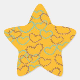 Línea bonita arte Brown azul anaranjado de las Pegatina En Forma De Estrella