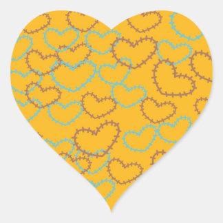 Línea bonita arte Brown azul anaranjado de las Pegatina En Forma De Corazón