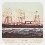 Línea buque de vapor Arizona de Guion Pegatina Cuadrada