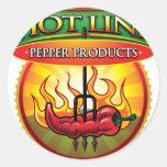 Línea caliente productos de la pimienta pegatinas redondas