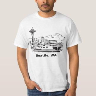 Línea camiseta de Seattle Washington del arte Remera