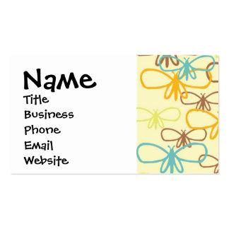 Línea caprichosa bonita mariposas de la libélula tarjetas de visita