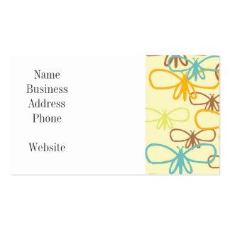 Línea caprichosa mariposas de la libélula del arte plantilla de tarjeta de negocio