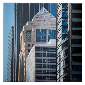 Línea Chicago de cristal de los rascacielos financ Azulejo Cuadrado Grande