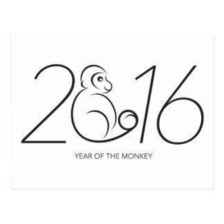 Línea china arte de 2016 del Año Nuevo números del Tarjetas Postales