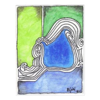 Línea colorida ejemplo de la impresión 14 del arte tarjeta postal
