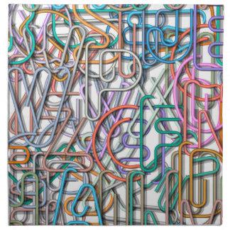 Línea colorida letras del arte servilletas de papel