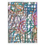 Línea colorida letras del arte tarjetas