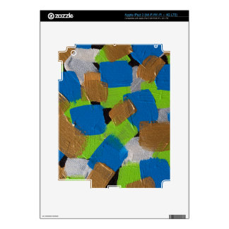 LineA Contemporary Art Lime Green& Blue Skins For iPad 3