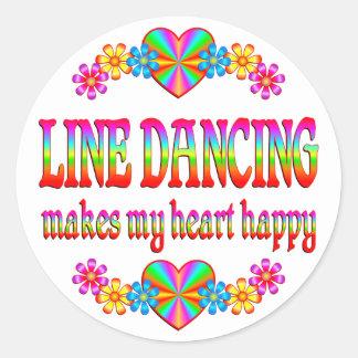 Línea corazón del baile feliz etiquetas redondas