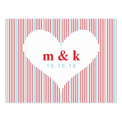 Línea corazón - el rojo y las azules turquesas tarjetas postales