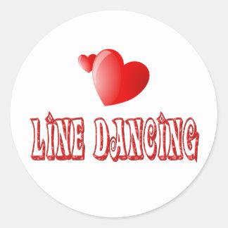 Línea corazones del baile etiquetas redondas