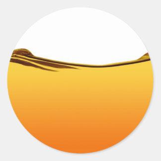 Línea de agua anaranjada pegatina redonda