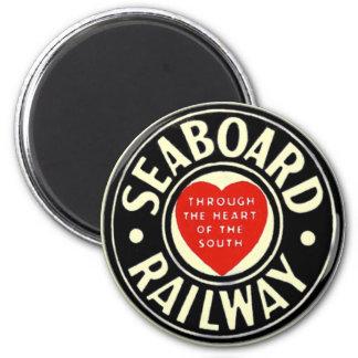 Línea de aire del litoral logotipo ferroviario del imán redondo 5 cm