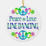 Línea de amor de la paz baile ornamento para arbol de navidad