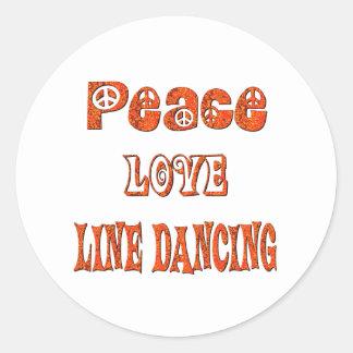 Línea de amor de la paz baile etiqueta redonda
