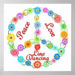 Línea de amor de la paz baile posters