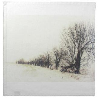 Línea de árboles en la nieve servilletas de papel