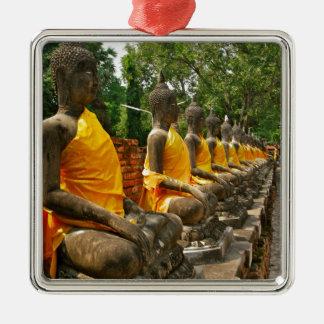 Línea de Buddhas Adorno Cuadrado Plateado
