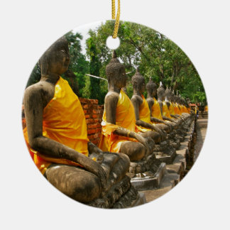 Línea de Buddhas Adorno Redondo De Cerámica