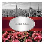 Línea de BW 1A del horizonte de NYC la alta florec Invitaciones Personales