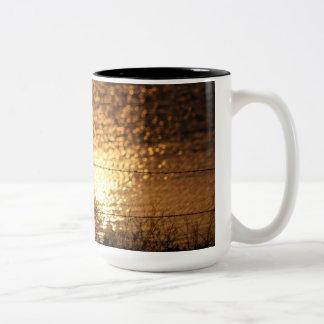Línea de cerca taza de la reflexión del agua