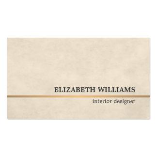 Línea de cobre beige interiorista de la textura tarjetas de visita