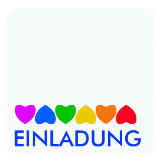 """Línea de corazón del arco iris del orgullo invitación 5.25"""" x 5.25"""""""