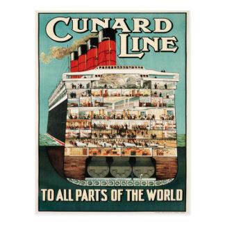 Línea de Cunard (a todas las partes del mundo) Tarjeta Postal