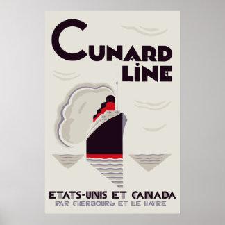 Línea de Cunard del estilo del art déco Póster