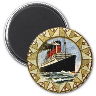 Línea de Cunard del vintage del RMS Berengaria Imán Redondo 5 Cm