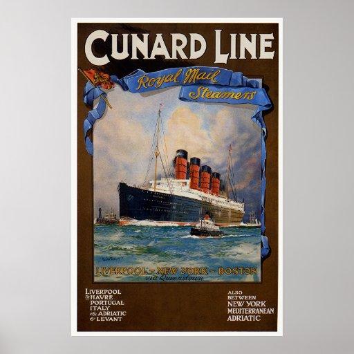 Línea de Cunard - Lusitania Poster