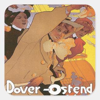 Línea de Dover Ostende del vintage Pegatina Cuadrada