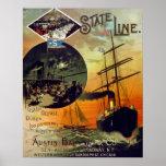 Línea de estado arte del viaje del barco de crucer poster
