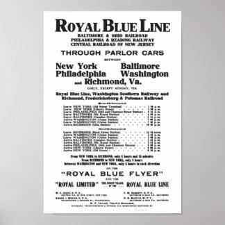 Línea de ferrocarril del azul real 1908 poster