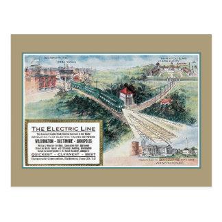 Línea de ferrocarril eléctrica del vintage 1912 MD Postal