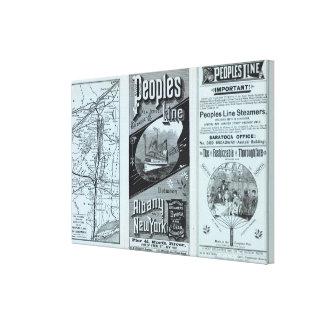 Línea de la gente del mapa de vapores impresión en lona estirada