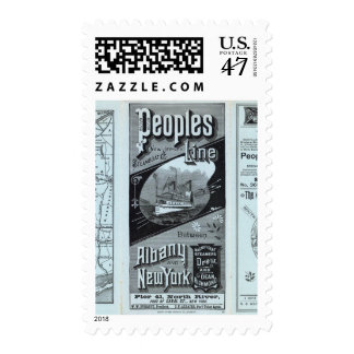 Línea de la gente del mapa de vapores timbres postales