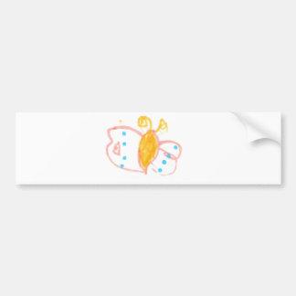 Línea de la mariposa de Hannah de productos Etiqueta De Parachoque