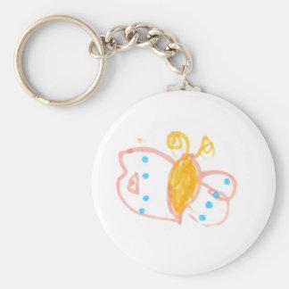 Línea de la mariposa de Hannah de productos Llavero Redondo Tipo Pin
