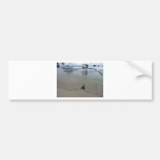 Línea de la playa 1 pegatina de parachoque