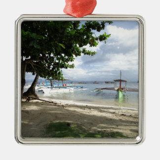línea de la playa adorno navideño cuadrado de metal