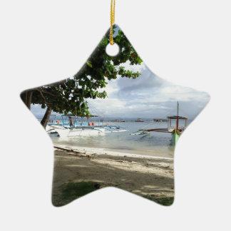 línea de la playa adorno navideño de cerámica en forma de estrella