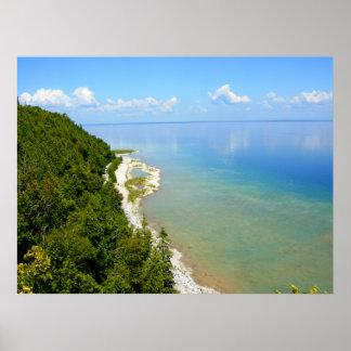 Línea de la playa del este de la isla de Mackinac Póster