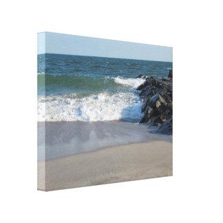 Línea de la playa impresión en lienzo estirada