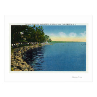 Línea de la playa, pabellón, y nadadores tarjetas postales