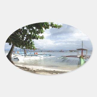 línea de la playa pegatina ovalada