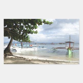 línea de la playa pegatina rectangular