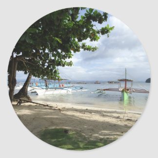 línea de la playa pegatina redonda