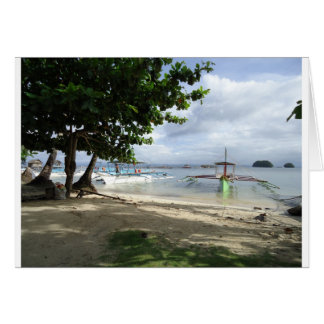 línea de la playa tarjeta de felicitación